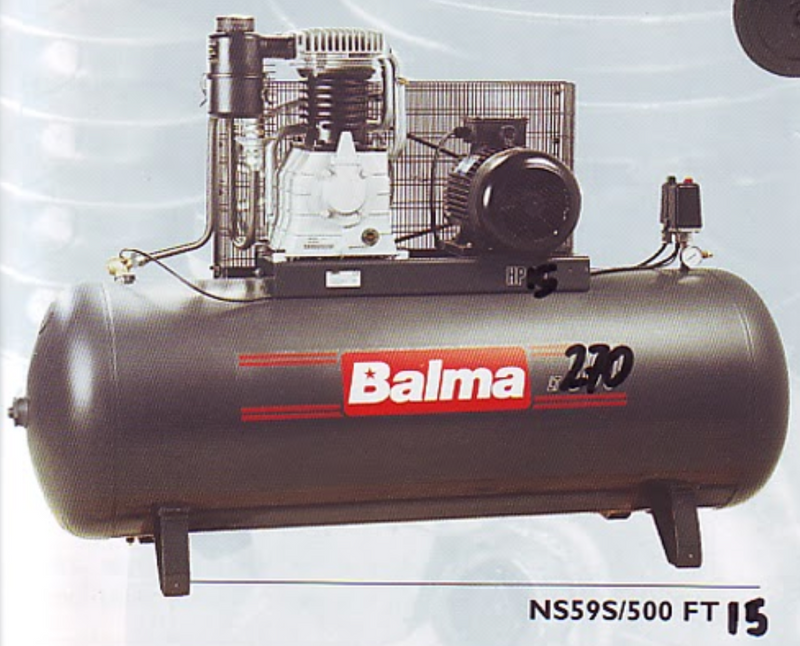 BALMA 15HP 270L 415V AIR COMPRESSOR Model : NS59S/270 FT15 MADE IN ITALY WARRANTEE SIX MONTHS NO - Aikchinhin