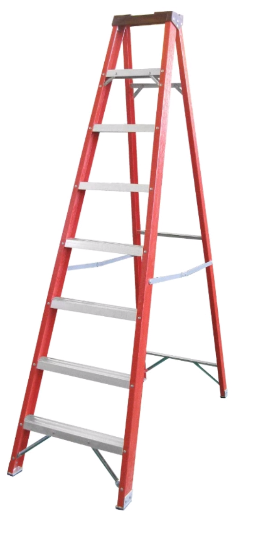 XG Red Fibreglass A-Frame Step Ladder | Model : L-XG107B | Steps : 4 - 14 steps