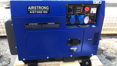 Airstrong 5.5kVA Silent Diesel Generator | Option : Single Voltage output (AS7500SE) or Dual Voltage (110V & 240V = AS7500SE-110) - Aikchinhin