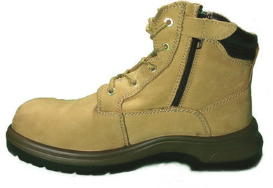 D&D Tanned High Cut & Laced + Zip up Sport Safety Shoe | Model : 8878 | Sizes : #5, #6, #7, #8, #9, #10