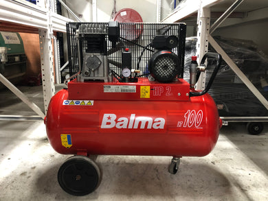 BALMA 2HP 100L 240V AIR COMPRESSOR MADE IN ITALY MODEL:NS12/100 CM2 WARRANTEE SIX MONTHS NO