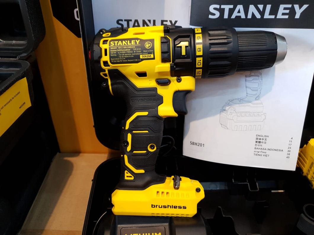Stanley 18V 2.0Ah Brushless Hammer Drill | Model : SBH201D2K-B1