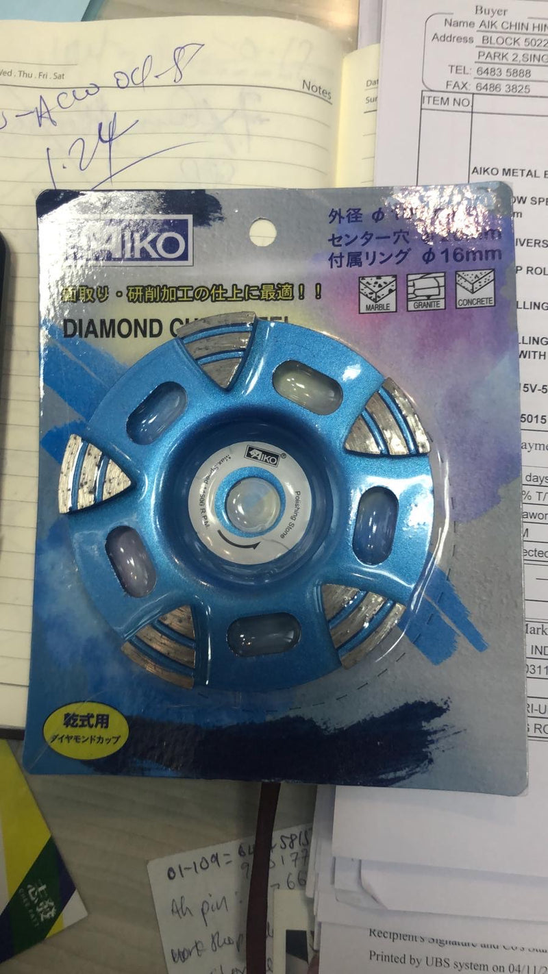"Aiko 4"" Diamond Cup Wheel Arrow Type 5T 