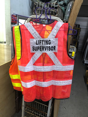 Red Safety Vest with words at back | Wording : Banksman, Fire Watchman, Lifting Supervisor, Rigger/Signal man, Security, Signal man, Traffic Controller - Aikchinhin