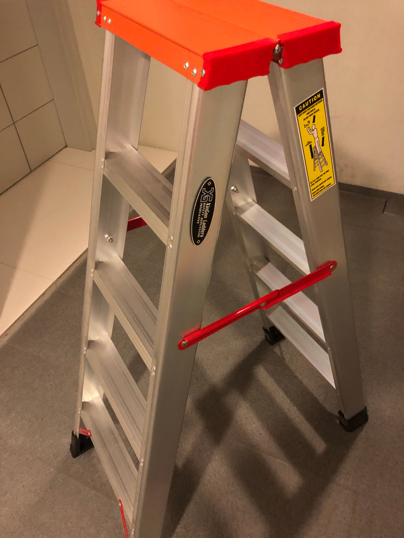 XG ALUMINIUM DOUBLE Side A LADDER Heavy Duty (5 to 12 STEPS) | Model : XG103B - Aikchinhin