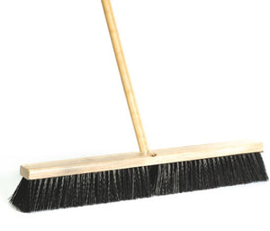 "Aiko 24"" Hard Black Bristles Road Sweeping Brush with Wooden Handle 