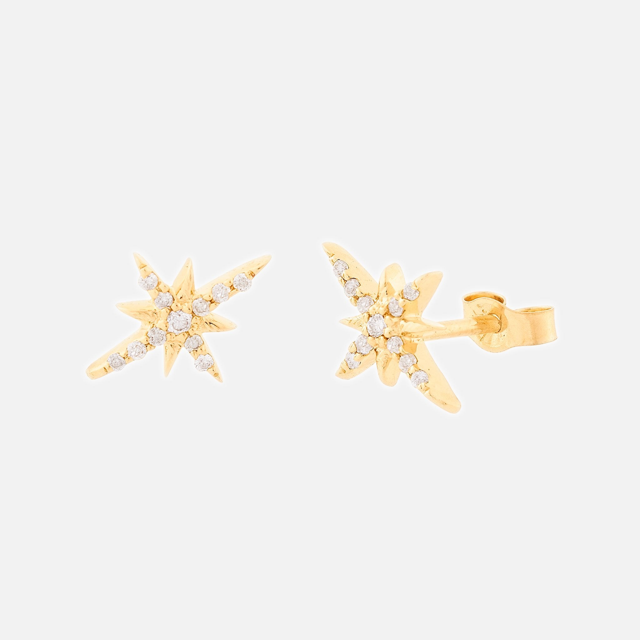 North Star Yellow Gold Earrings
