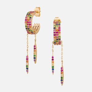 Rainbow Sapphires with Dangling Beams Hoop Earrings