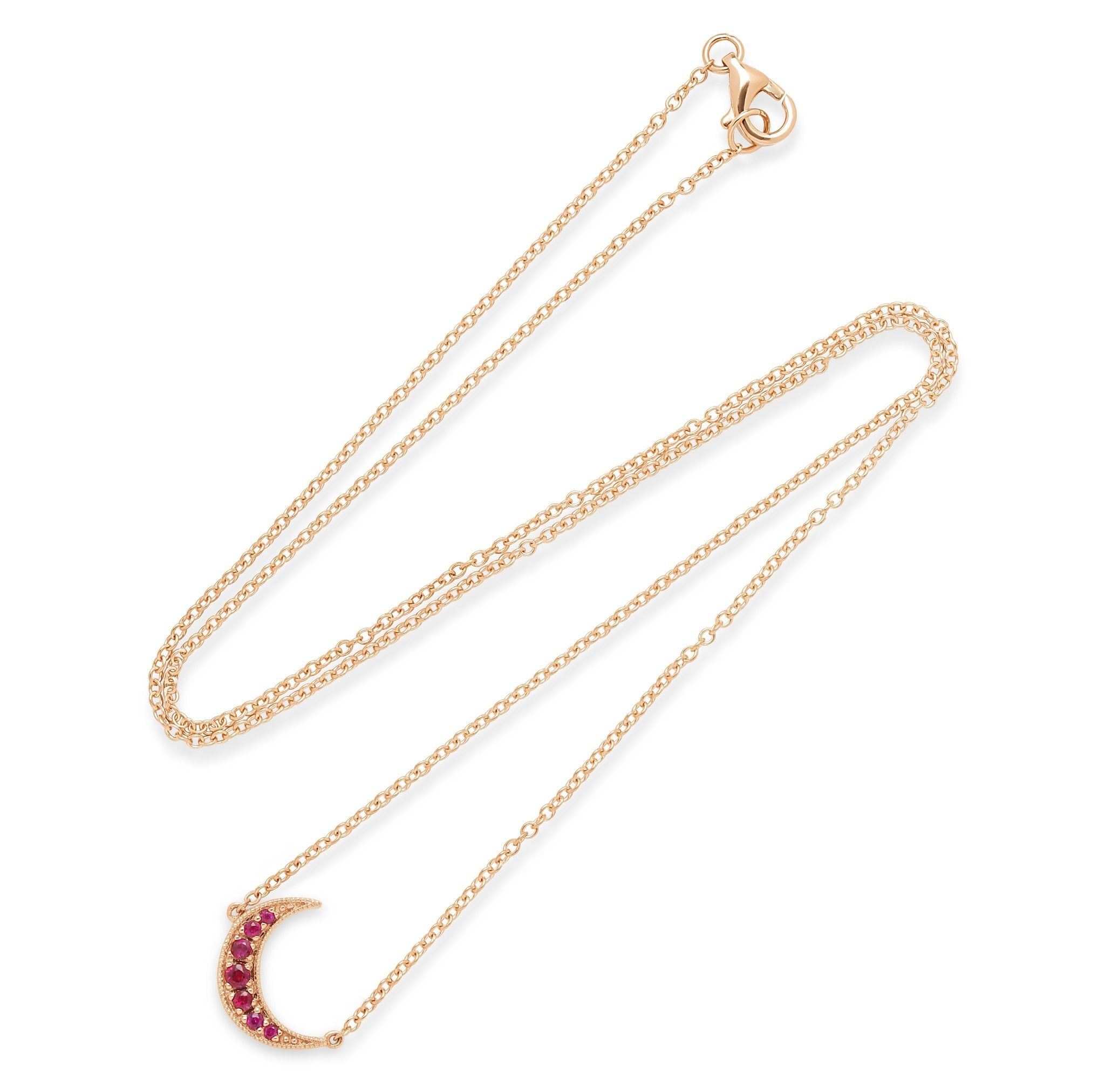 Crescent Moon Ruby Necklace