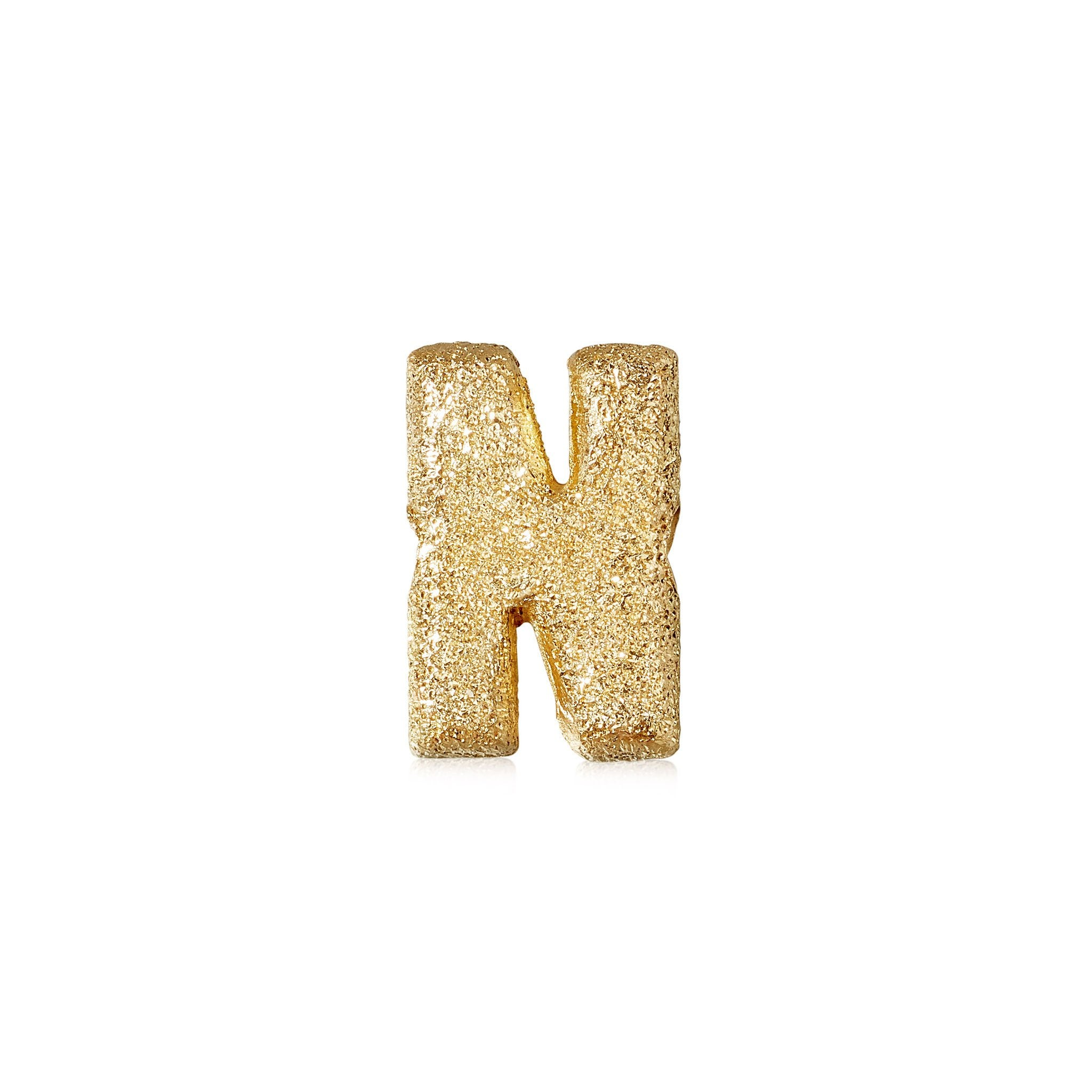 FORTE Florentine Finish Letter N - 18k Yellow Gold