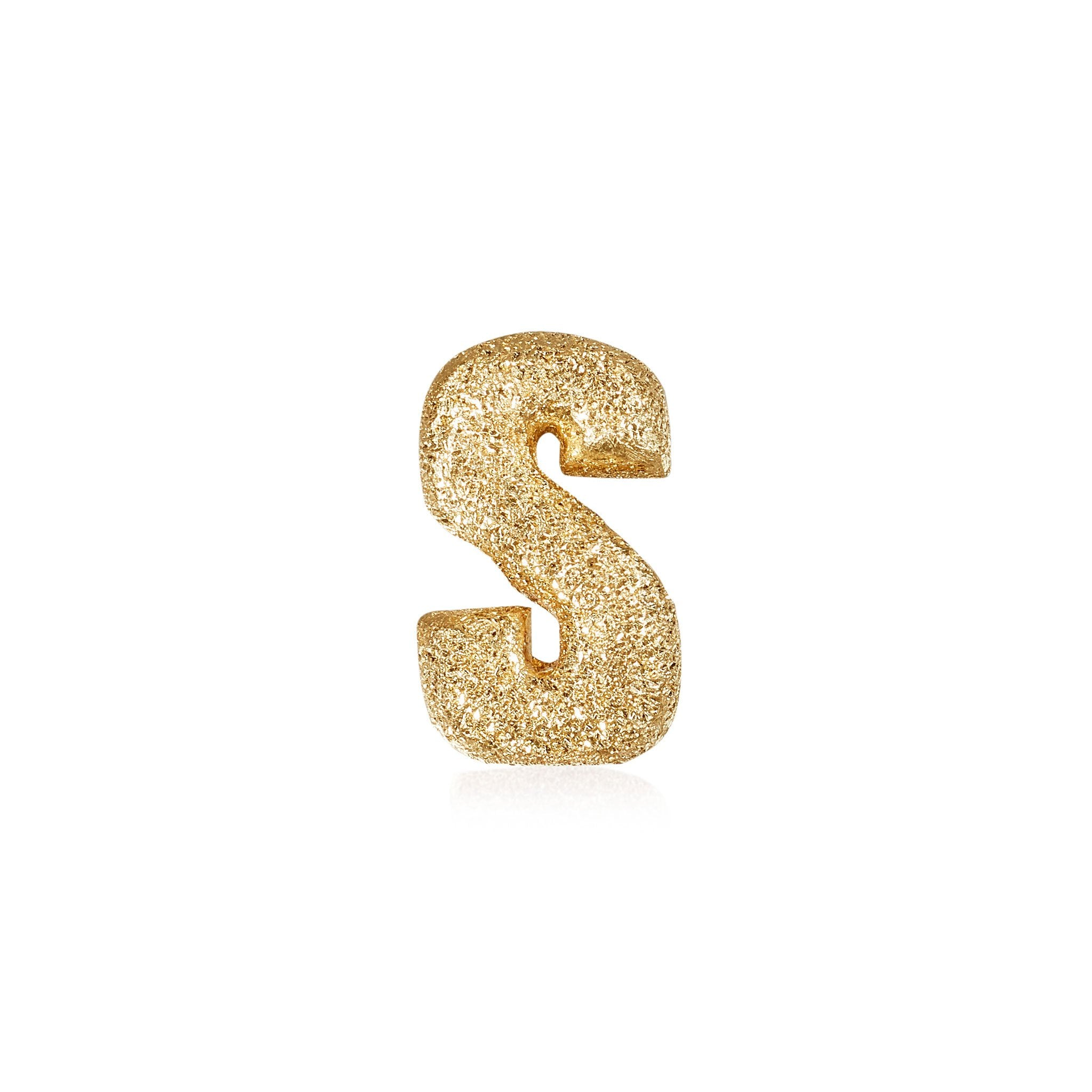 FORTE Florentine Finish Letter S - 18k Yellow Gold