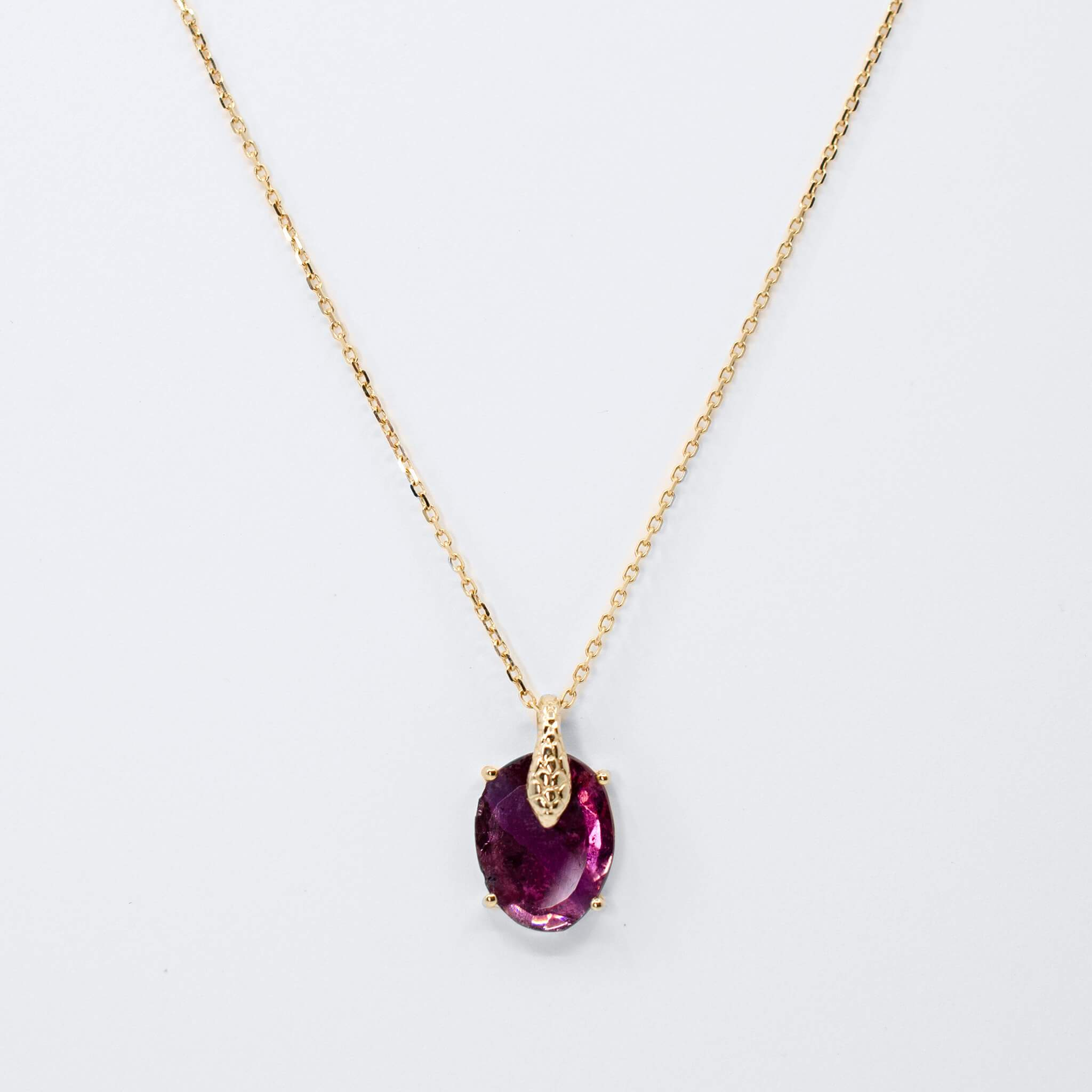 Tourmaline and Baby Cobra Chain Necklace