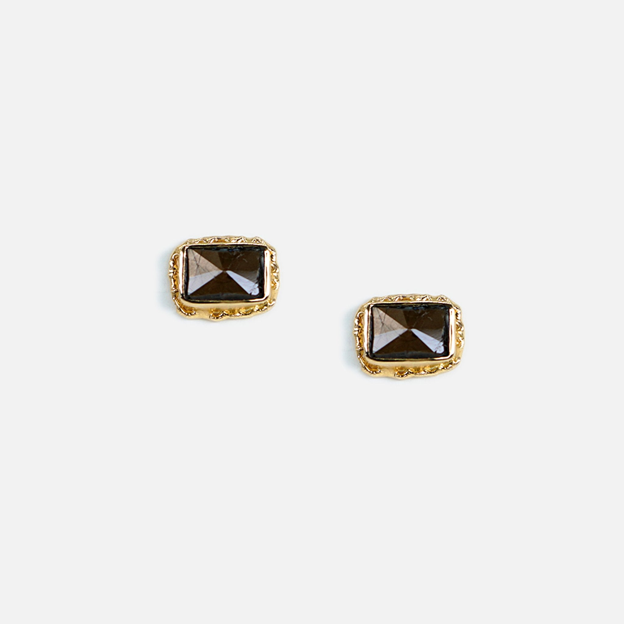 Brown Sapphire Post Earrings