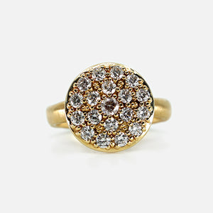 Large Round Diamond Pavé Cluster Ring