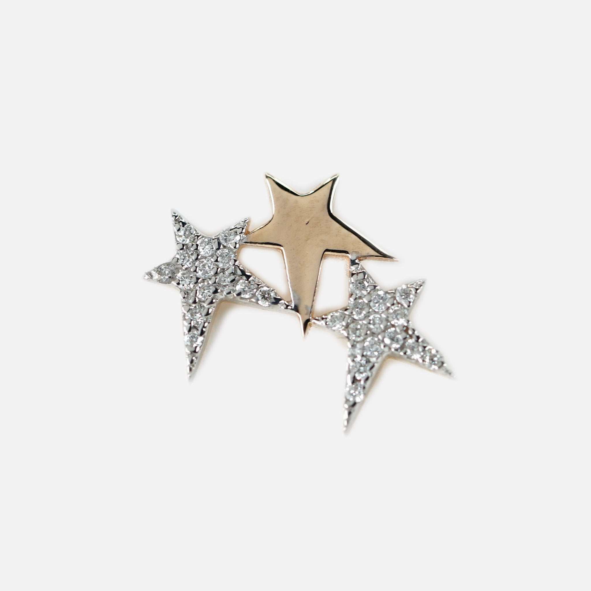 Struck Triple Star Stud - Gold & White Diamonds