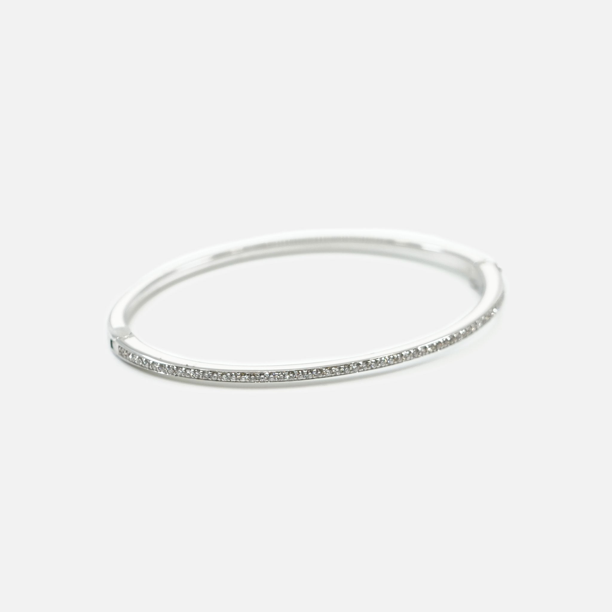 18k White Gold Deco Bangle