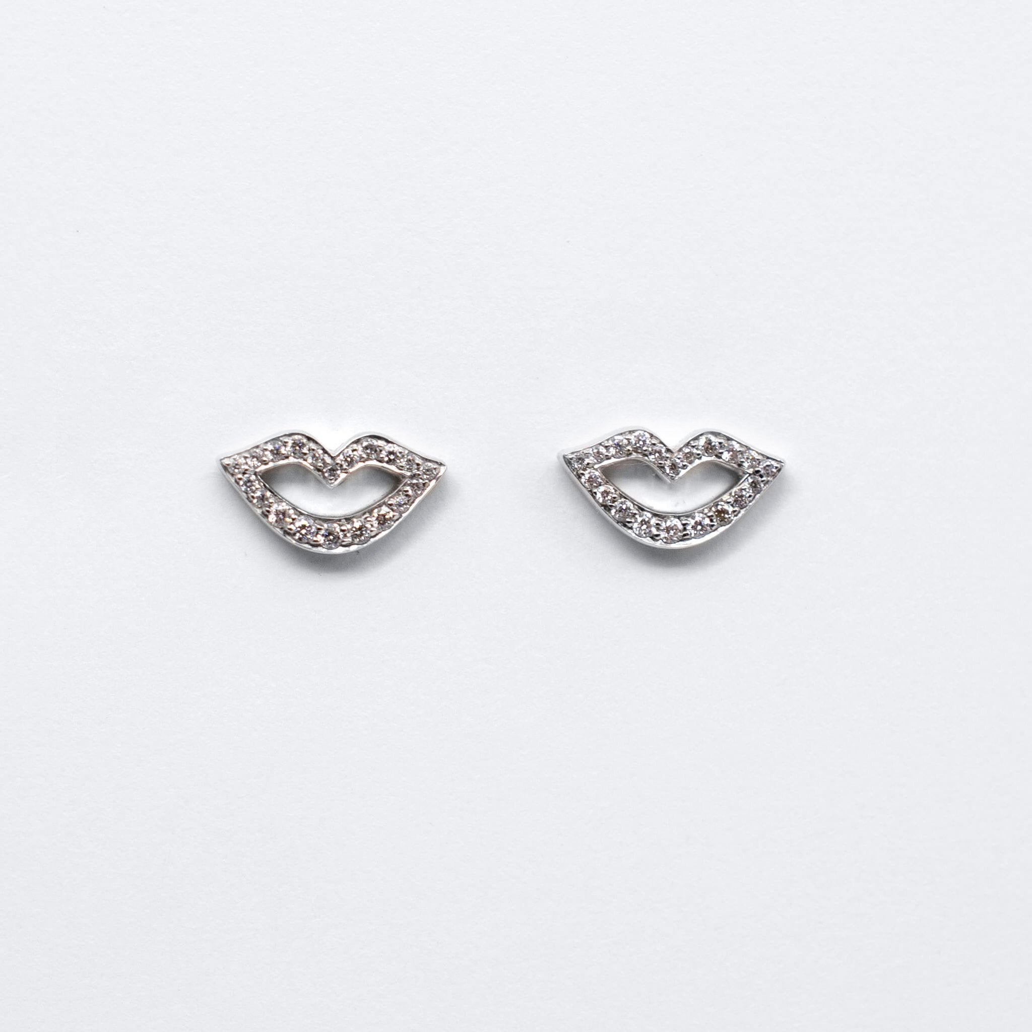 Smile Stud Earrings - White Gold