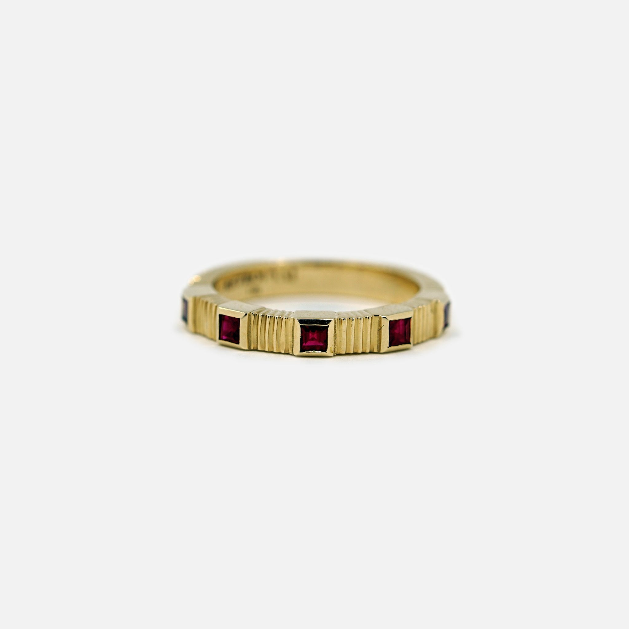 Pleated Five Stone Band - Carre Cut Rubies