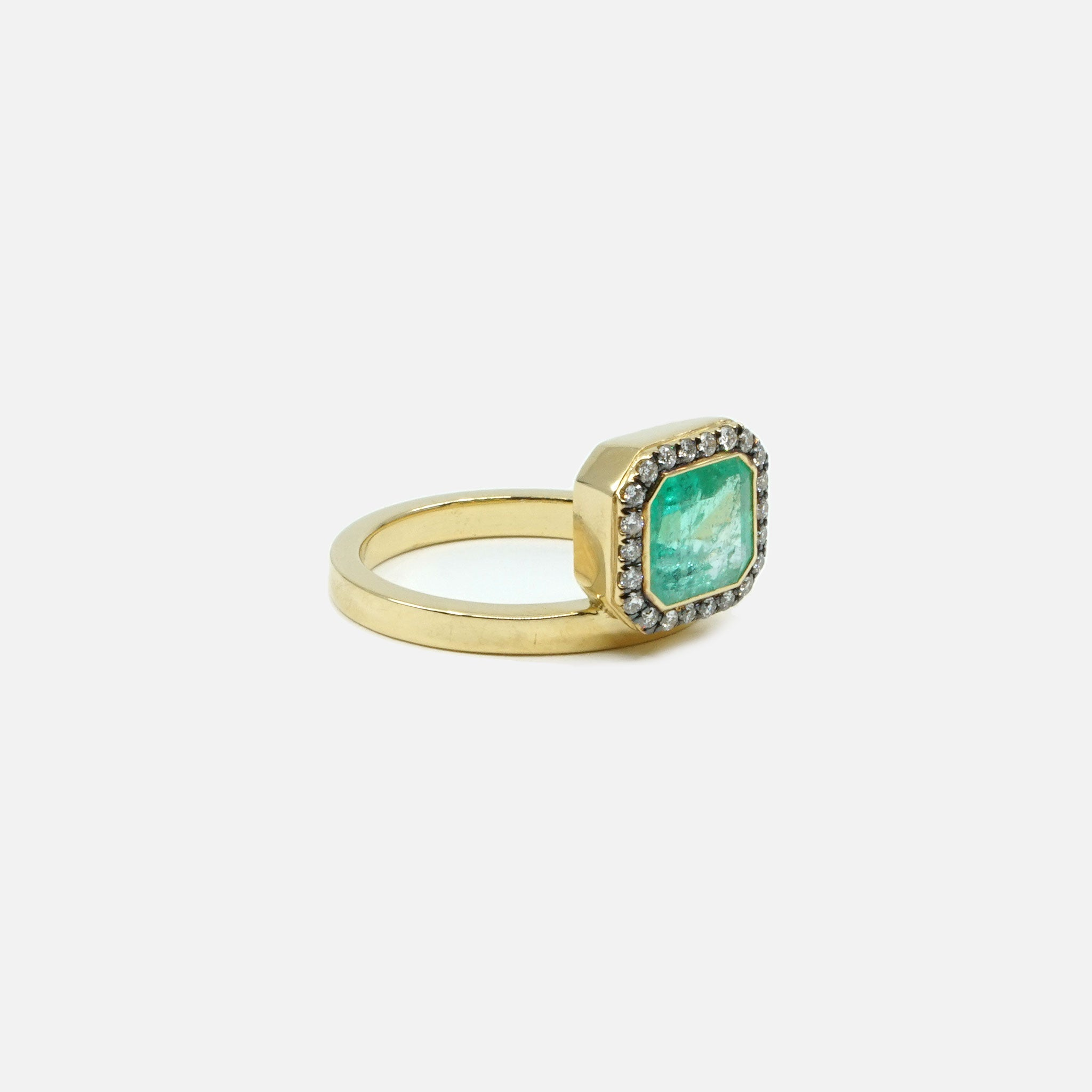 Emerald & Diamond Pave Puzzle Ring