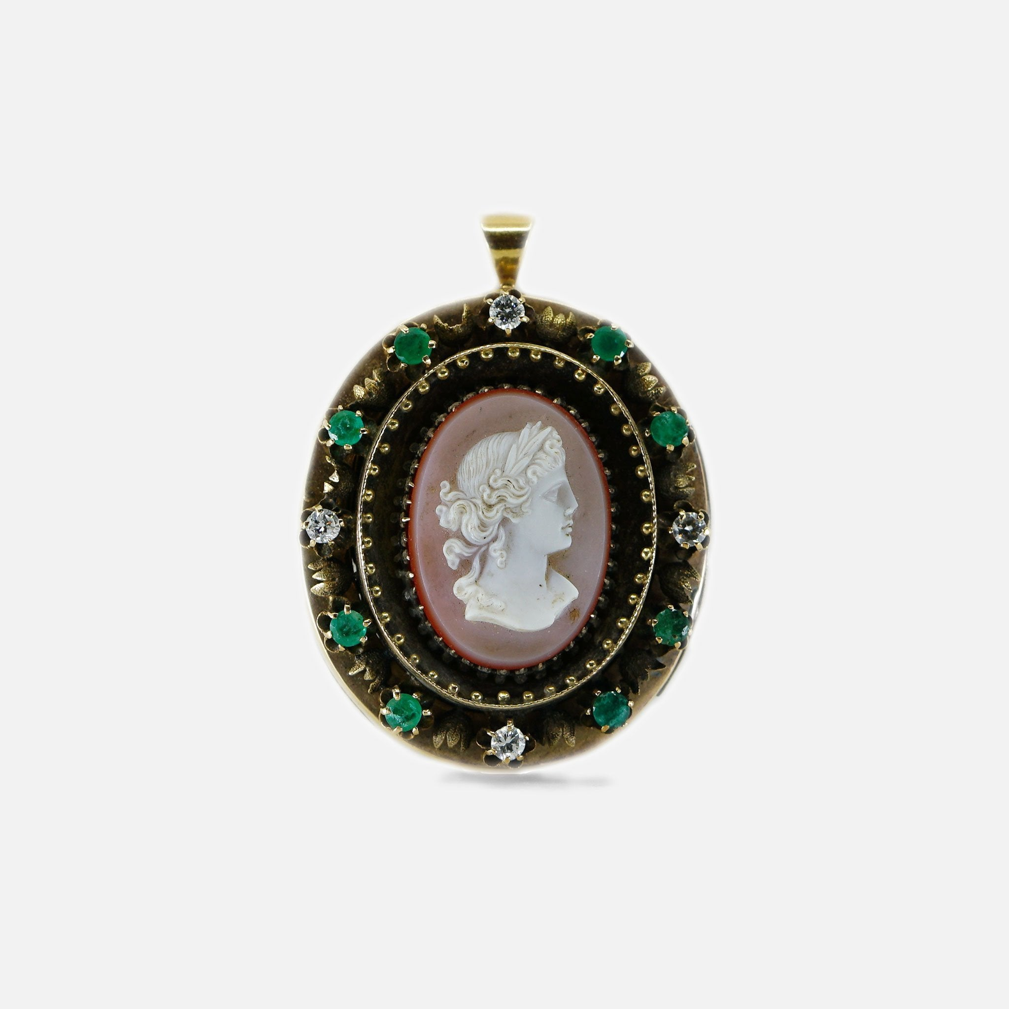 Vintage Emerald and Diamond Cameo Pendant