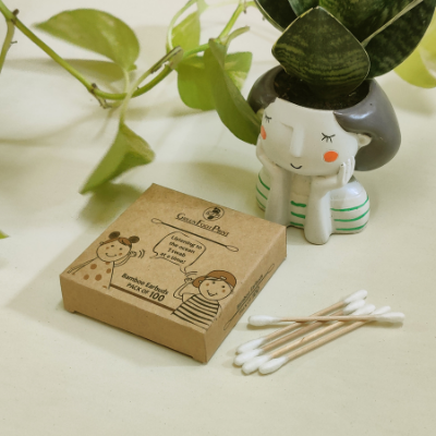 Bamboo Earbuds or Ear Swabs by GreenFootPrint on Brown Living