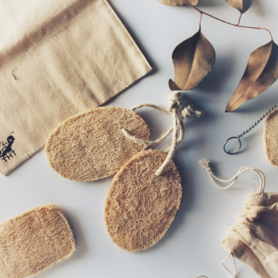 Natural Loofah on Brown Living