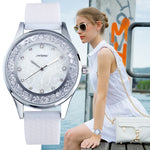 Women's Diamond Rimmed Watch with Silicone Strap Womens Watches - Ecodesignstore