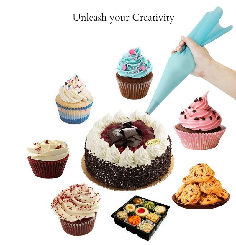 6pcs Silicone Icing Piping Cream Pastry Bag with  Stainless Steel Nozzle Sets - Cake Decorating Baking Tool Kitchen - Ecodesignstore