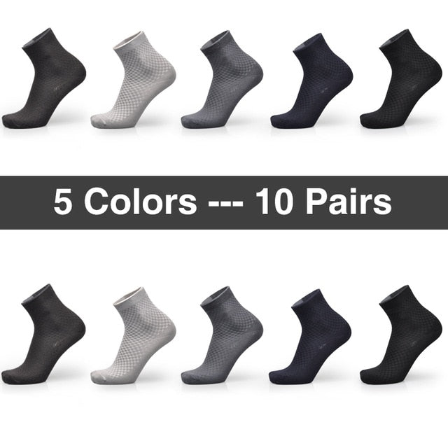 Stylish Designer Men's Bamboo Socks 10 Pairs / Lot Breathable Anti-Bacterial, Anti-Fungal, Odor-Resistant Premium Quality Men's Socks Mens Bamboo Socks - Ecodesignstore