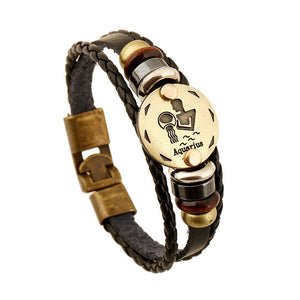 Mens Bronze Alloy Buckles Zodiac Signs Bracelet with Leather, Wooden Beads & Black Hematite Mens Jewelry - Ecodesignstore