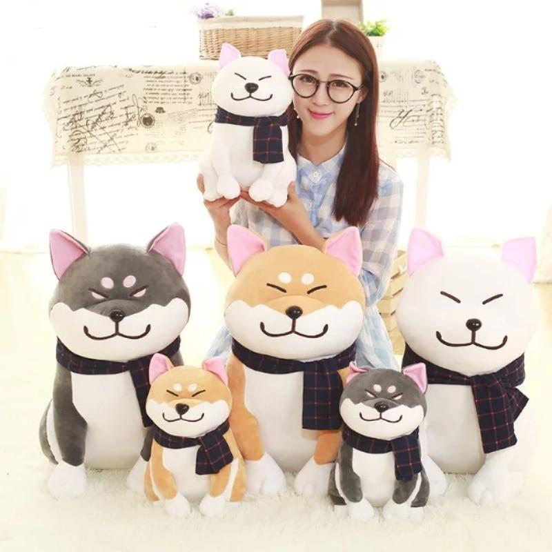 Dog soft plush toy wearing Scarf. Great valentines gift 25cm/9.84'' Plush Toy - Ecodesignstore