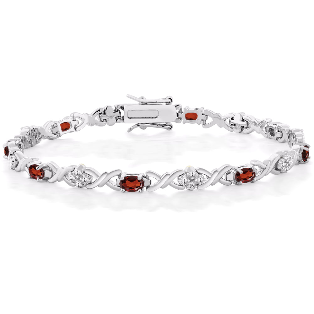 Women's 5.00 Ct Natural Garnet Tennis Bracelet 925 Sterling Silver with Diamond Accent Womens Jewelry - Ecodesignstore
