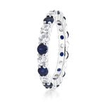 Wedding Gorgeous 2.20 Ctw Blue White Sapphire 925 Sterling Silver Eternity Ring Bands Womens Jewelry - Ecodesignstore