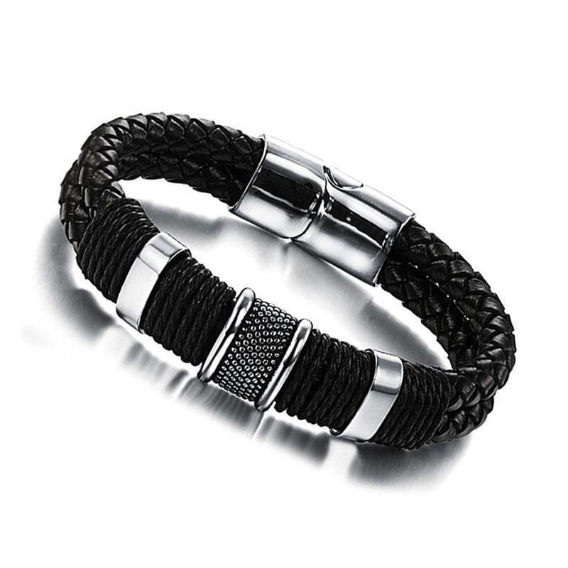 Mens Wide Weave Chain Wristband Leather Bracelet Mens Jewelry - Ecodesignstore