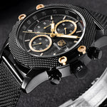 Sport Chronograph Men's Watch  Mesh & Rubber Band Mens Watches - Ecodesignstore