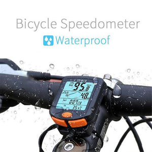 Wireless Bike Computer Speedometer Digital Odometer Stopwatch Thermometer LCD Backlight Rainproof Black Cycling - Ecodesignstore