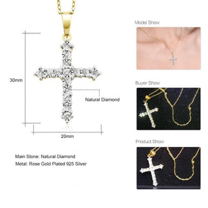 Cross Necklace For Women Men Two-Tone 18K Yellow Gold Plated Natural Diamond Womens Jewelry - Ecodesignstore