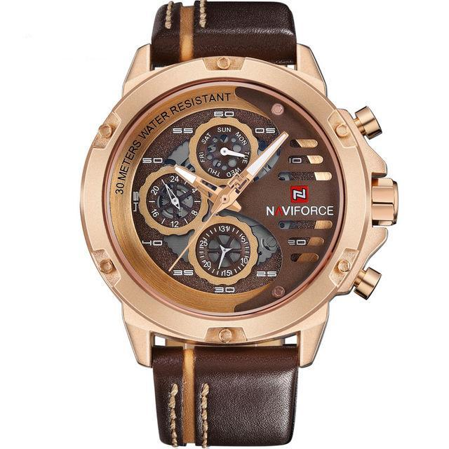 Men's Military Sport Waterproof Quartz Watch With Leather Strap Mens Watches - Ecodesignstore