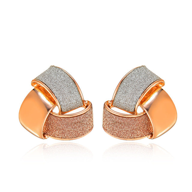 Women's Rose Gold Color Knot Stud Earrings - Triple Color Earrings Womens Jewelry - Ecodesignstore