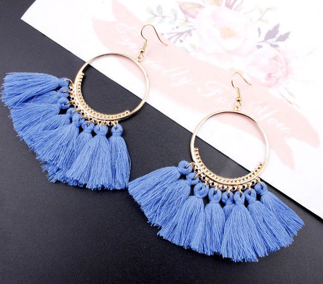 Bohemian Handmade Statement Tassel Earrings for Women Vintage Round Long Drop Earrings Wedding Party Bridal Fringed Jewelry Womens Jewelry - Ecodesignstore