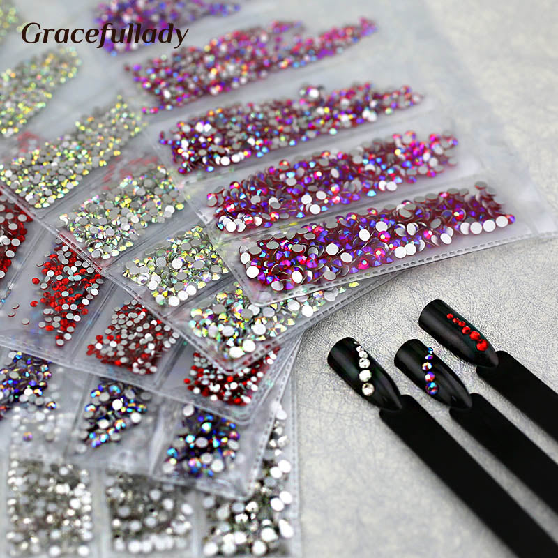 Multi-size 1680pcs Glass Nail Rhinestones For Nail Art Decorations Crystals Strass Charms Partition Mixed Size Rhinestone Set Nail Rhinestones - Ecodesignstore