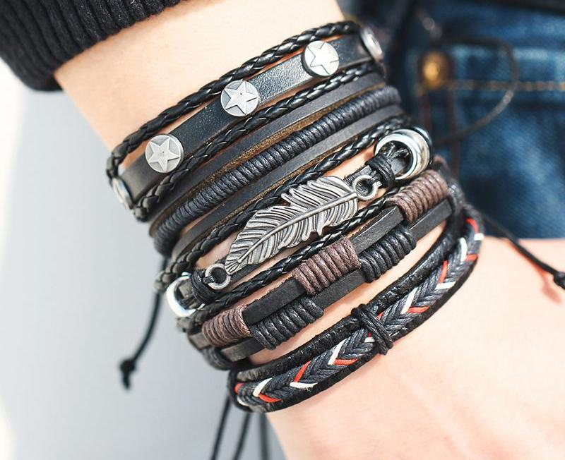Vintage Leaf Feather Multilayer Men's Leather Bracelet Mens Jewelry - Ecodesignstore