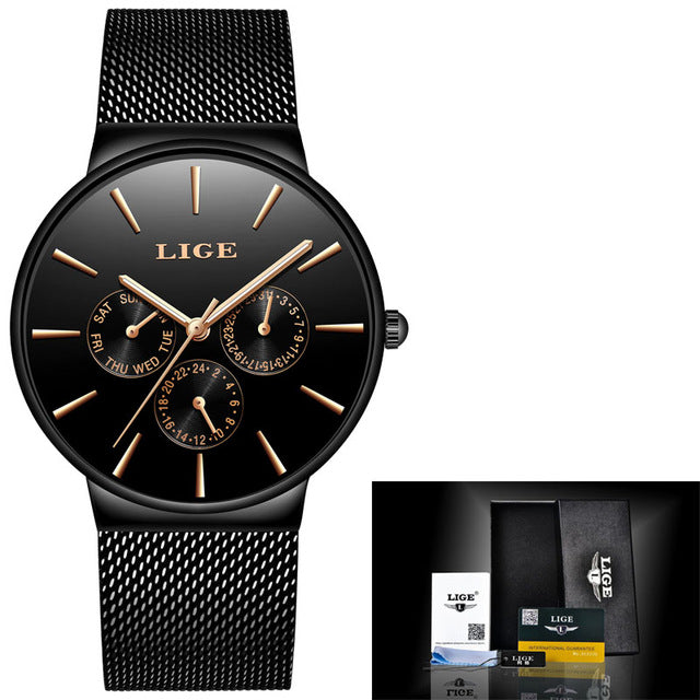 Men's Waterproof Ultra Thin Date Clock Quartz Watch With Steel Strap. Mens Watches - Ecodesignstore