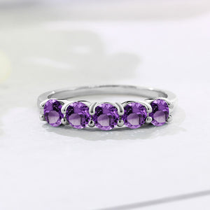 Women's 1.25 Ct Round Purple Amethyst 925 Sterling Silver 5-Stone Band Ring Womens Jewelry - Ecodesignstore