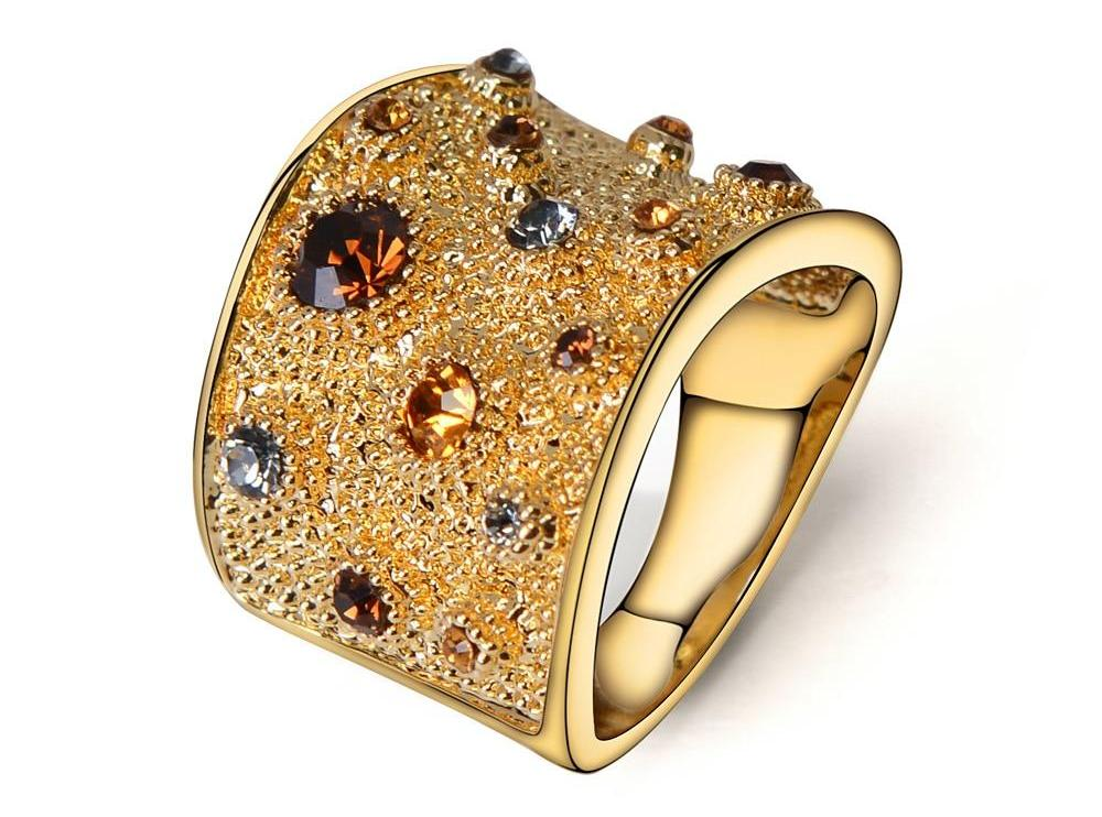 Women's Wide Gold Color Finger Rings Multi-Coloured Rhinestones Paved Cocktail Ring Size 6 7 8 9 Womens Jewelry - Ecodesignstore