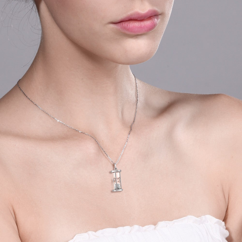 Womens Solid 925 Sterling Silver Gemstone Necklace 0.50 Ct Natural Diamond Sand Dust Time Keeper Hourglass Pendant Womens Jewelry - Ecodesignstore