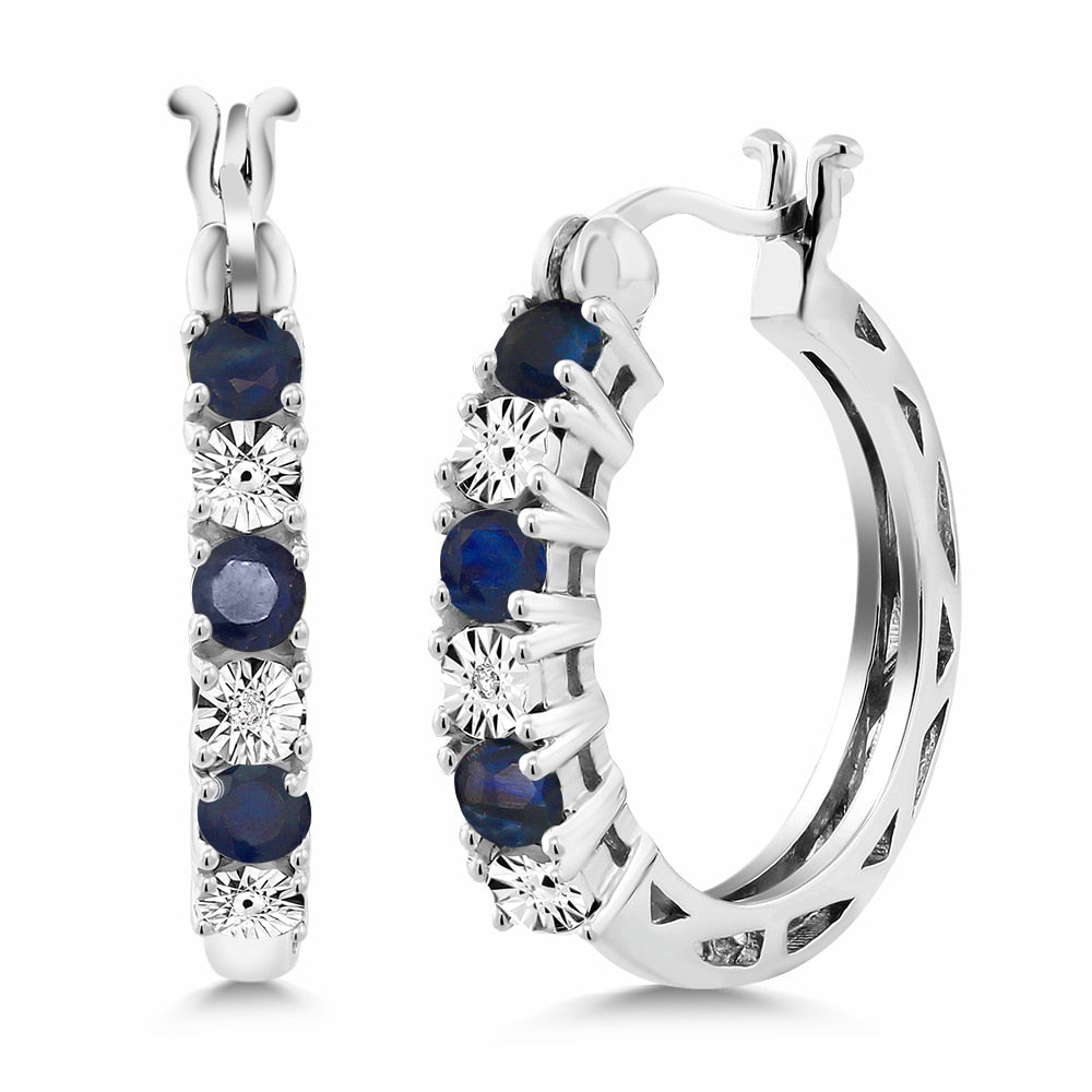 Blue Sapphire & White Diamond Accent 925 Sterling Silver Circle Eternity Earrings For Women Womens Jewelry - Ecodesignstore