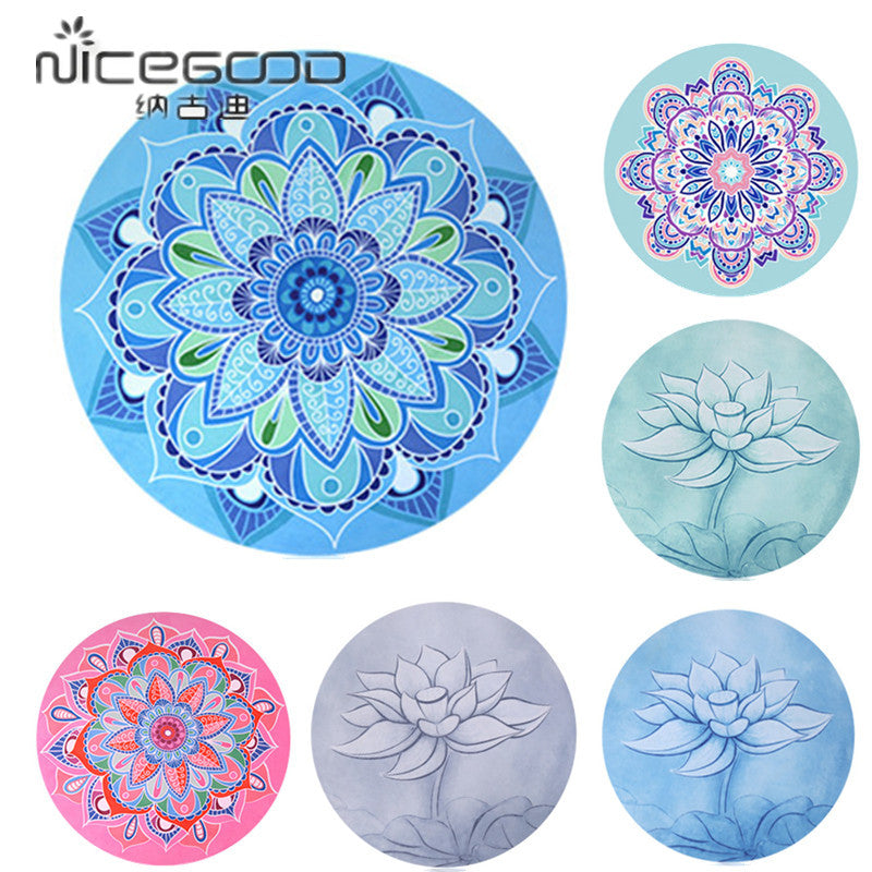Small Round Meditation Yoga Mat 1mm Suede Natural Rubber Ultralight Portable Foldable Yoga Cushion With Storage Bag Yoga - Ecodesignstore