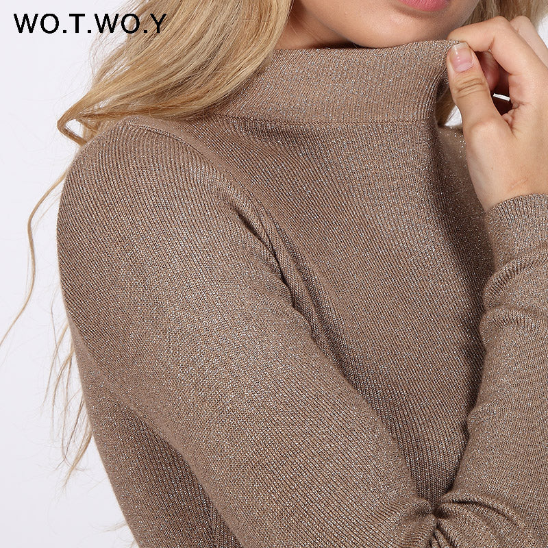 Womens Winter Cashmere Sweater Shiny Lurex Turtleneck Womens Cashmere Sweater - Ecodesignstore