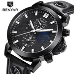 Sports Chronograph Men's Quartz Watch with Moon Phase & Leather Strap  - Ecodesignstore